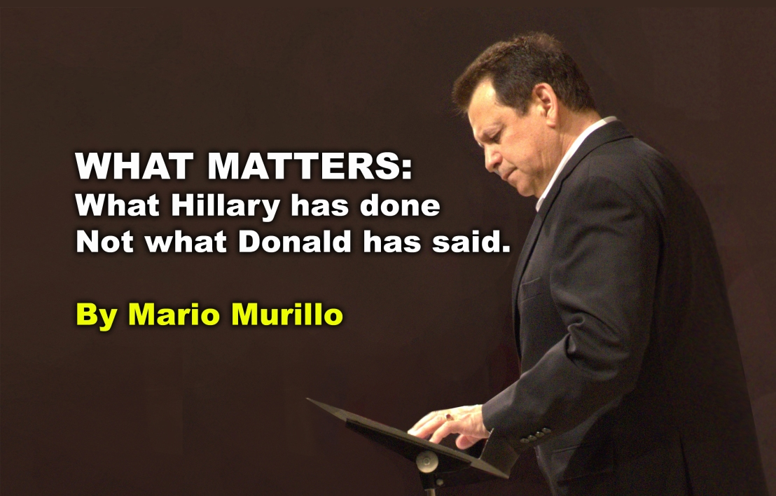 What matters: What Hillary has done. Not what Donald hassaid